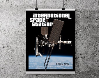 "NASA poster, Space Station, Space Art, NASA Art, Aerospace, Instant Download, Cool Poster, Astronaut, Space Wall Art, 8x10"", 11x14"", 16x20"""
