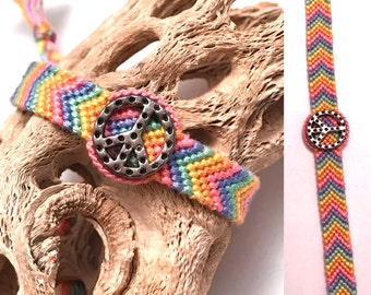 Friendship bracelet - peace sign - charm - pastel - chevron - braided - macrame - woven - handmade - string - embroidery floss