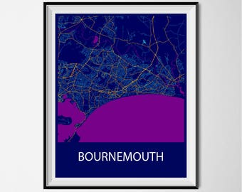 Bournemouth Map Poster Print - Night