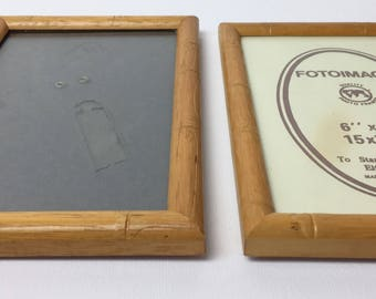 Vintage faux bamboo photo frames or small picture frames