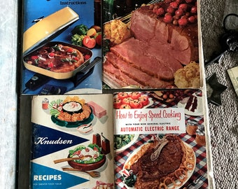 Vintage Cookbook Collection 1950s - 1960s, Knudson Dairy, Sunbeam Frypan Recipes, General Electric, Shortcut Cooking