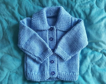 Hand Knitted Baby Cardigan. Blue. 0-3 Months