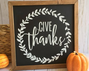 Give Thanks Framed Sign, Fall Wood Sign, Give Thanks Sign, Thanksgiving Sign, Fall Decor