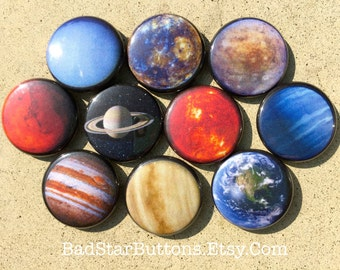 ALL Eight Planets PLUS The Sun and Pluto Button Set