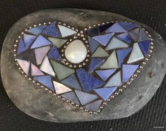 Mosaic Rock -Blue Heart