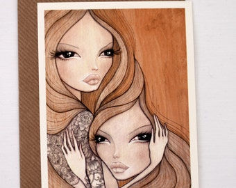 """Postcard; reproduction of my illustration """"Daina and Mai"""", with envelope"""
