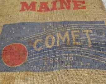 Burlap Sack, Maine Comet Potato Sack, Barn and Farm Country Salvage