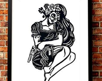 Calavera Chicana Mexican Wall Art, Dia de los Muertos Chicano Mexican Skull Decor, Skeleton Poster, La Catrina Mexican Folk Art Skull Print