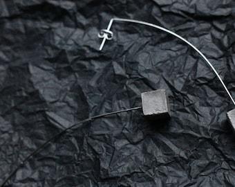 Concrete Geometric Minimal Pendant Long Earrings