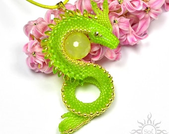 AFAETH - lime gold dragon pendant with toho and miyuki seeds and faceted agate round; unique gift, original, handmade jewelry, fantasy