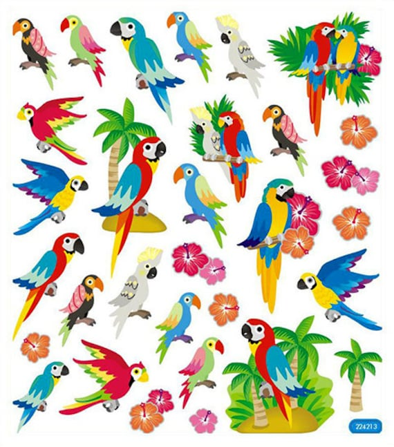 Parrots tropical birds stickers • parrot sticker • tropical birthday • tropical party • bird lover • parrot sk4256 from iluvdesign on etsy studio