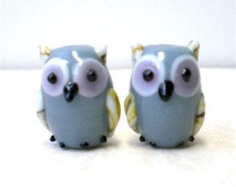 10 pieces 12mm Gray Owl Beads, Lampwork Glass Birds, Animal