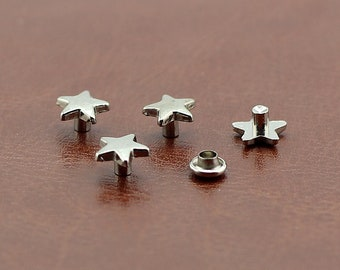 PACK of 10 Silver Star Rivets Studs Leather Studs Leather Craft Decorative Rivet D244