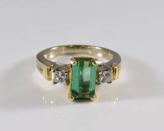 Vintage 14K Yellow Gold Tourmaline and Diamond Ring Size 6 1/4