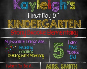 First Day of School Pencil and Dots Chalkboard, First Day of School Sign