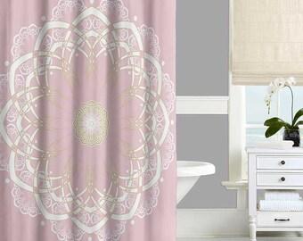 Bohemian Shower Curtain, Mandala Shower Curtain, Pink, Yellow, White Bath Curtain, Bathroom Curtains, Modern Bathroom Decor 71x74
