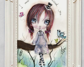 "LIMITED EDITION print signed numbered Chrishanthi' ""Miko"" lowbrow pop surreal big eyes ,  gothic art"