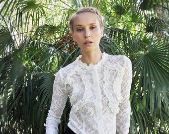 Lace ruffles shirt