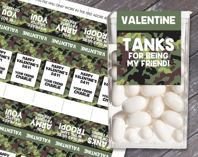 Camo Tic Tac Labels - Army Party, Military Party, Video Gamer Party | Editable DIY Instant Download PDF Printable
