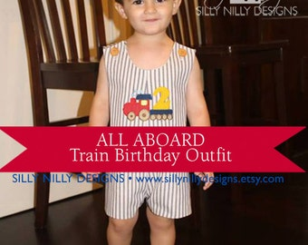 Vintage Train Steam Engine Birthday jon jon or romper short or long in sizes 12m, 18m, 2t, 3 or 4 from Silly Nilly