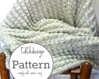 CROCHET PATTERN Chunky Crochet Throw Original Scalloped Ribbed Stitch Afghan Blanket Warm Cozy Home Accessory