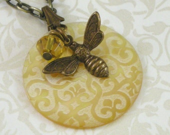 Honey Bee Victorian Shell Pendant
