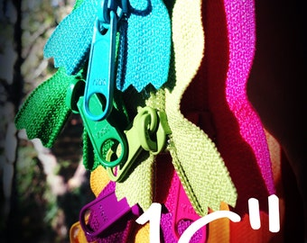 16 inch Handbag pull YKK zippers, TEN pcs, black, red, yellow, orange, turquoise, blue, fuchsia, green, 4.5 mm zippers