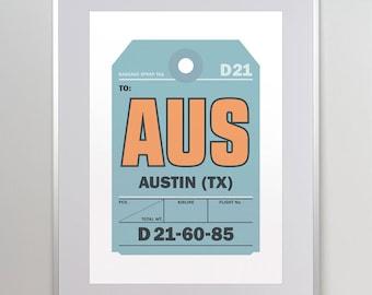 Austin TX Print, AUS Airport Code Poster, Airport Art, Luggage Tag Print, Flight Tag, Aviation Wall Art, Austin Texas Poster, Texas Nursery