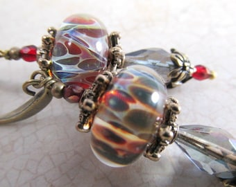 Smoky Blue and Marsala Red Lampwork Glass Earrings with Brass beadcaps and findings on fishhook wires or leverbacks