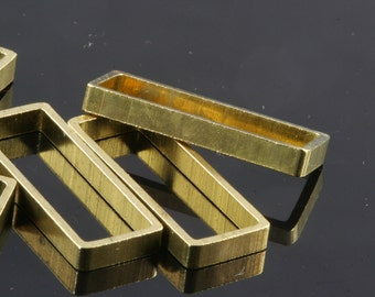 "rectangle pendant 6 pcs L13 Raw Brass  30 x 10 x 3 mm 1,18"" x 0,39"" x 0,12""  finding industrial design 1554"