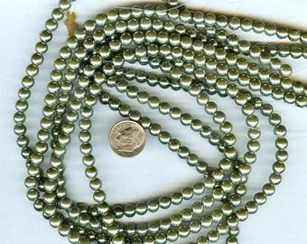 3mm Elegant Autumn Green Glass Pearls 50 pcs