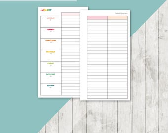 BR-PERS | 2018 Week On 2 Pages Printable Planner Insert - 2018 Weekly Two Pages Personal Inserts Filofax Calendar Printable Pages