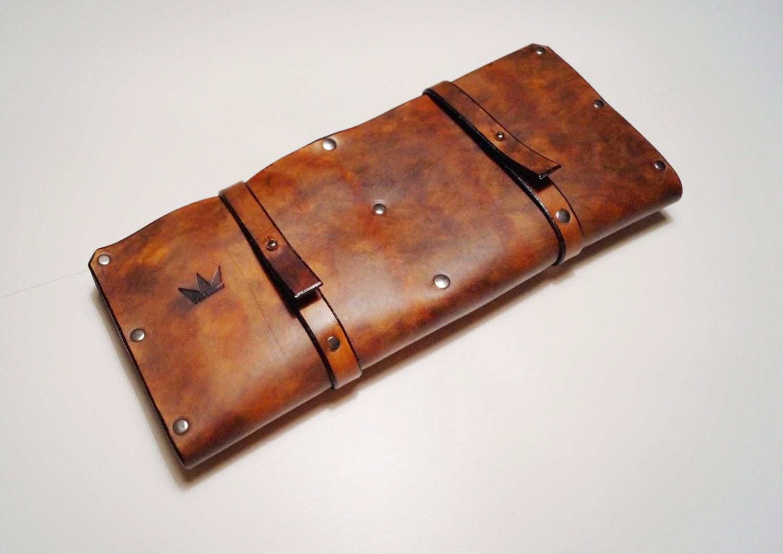 leather knife roll knife case cheffs roll chefs bag knives. Black Bedroom Furniture Sets. Home Design Ideas