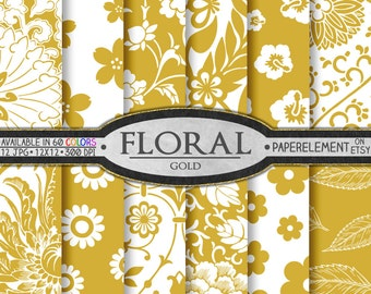 Gold Flower Digital Paper Pack for Scrapbooking - Printable Floral Backgrounds - Instant Download