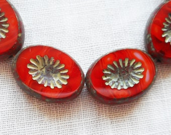 Ten 14 x 10mm oval opaque red carved, table cut, picasso Czech glass beads, front and back carved C5805