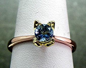 AAAAA Blue Santa Maria Aquamarine   .46 Carats   Custom 18K Rose 18K Green gold Solitaire Tulip Engagement ring 1478