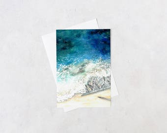 frothy knitted seascape notecard | blank interior, knitting gifts, crafter, handmade, artist