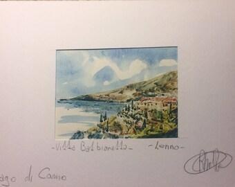 Lenno. Lake Como. Acquarellata printing by hand. Watercolors Lake Como. Watercolorlakeitaly. Lakeitaly. Italianlandscape. Watercolorprint