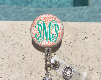 Retractable Badge Holder, Personalized Badge Reel, Monogram Badge Reel, Doctor Badge Reels, Pharmacy Badge Reels, RN,MD,Preppy Blossom,MB439