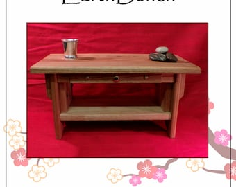 """20""""×11"""" w/ DRAWER. Solid BUTTERNUT w/ Beeswax Finish. Personal Altar w/ Shelf + Small Incense Drawer."""