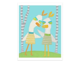 Impression d'art, deux oiseaux bizarres, pépinière impression, oiseau Art Print, pépinière Animal Print, Art mural enfant, Art de la salle de jeux, décor d'enfant, crèche de l'Art