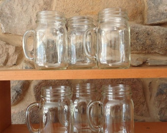 12 Mason Jar Mugs, Jars with handles,