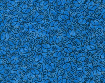 Beautiful blue fabric with black swirls.