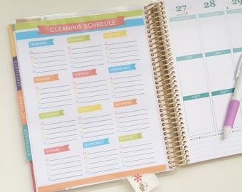 Cleaning Schedule / To Do List Rainbow Laminated Insert for Arc and Erin Condren Planner