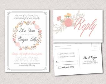 Floral Invitation and Postcard RSVP
