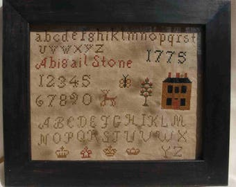 Primitive cross stitch, sampler chart/pattern,primitive needlework, schoolgirl sampler, early American , Abigail Stone