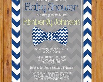 Little Man Bow Tie Baby Shower Invitation Navy Blue Chevron Shower Invite 5x7 Digital Invite (157)