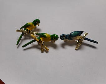 3 Parrot Scater Pin Brooches