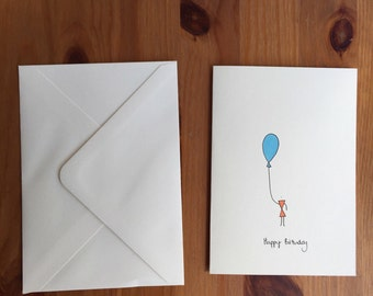 Orange Balloon Birthday Card