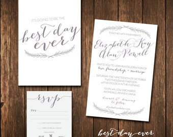 Best Day Ever Printable Wedding Invitation & RSVP with Meal Choice Set